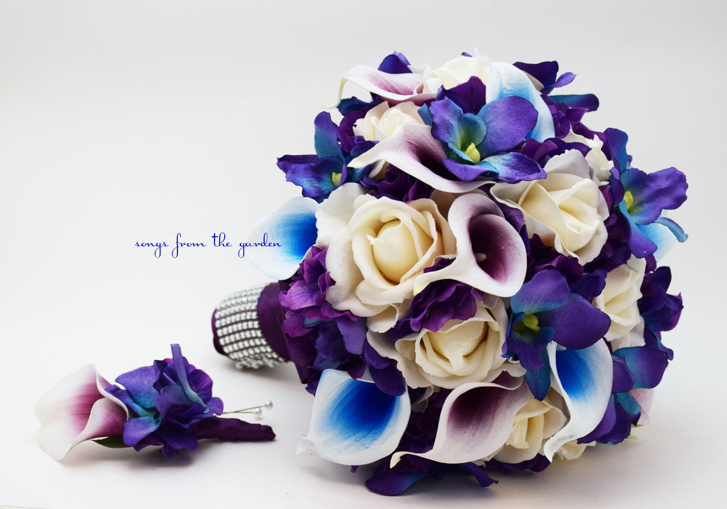 Blue Orchid Picasso Calla Bridal Bouquet Real Touch Ivory Roses Purple Hydrangea Grooms Boutonniere