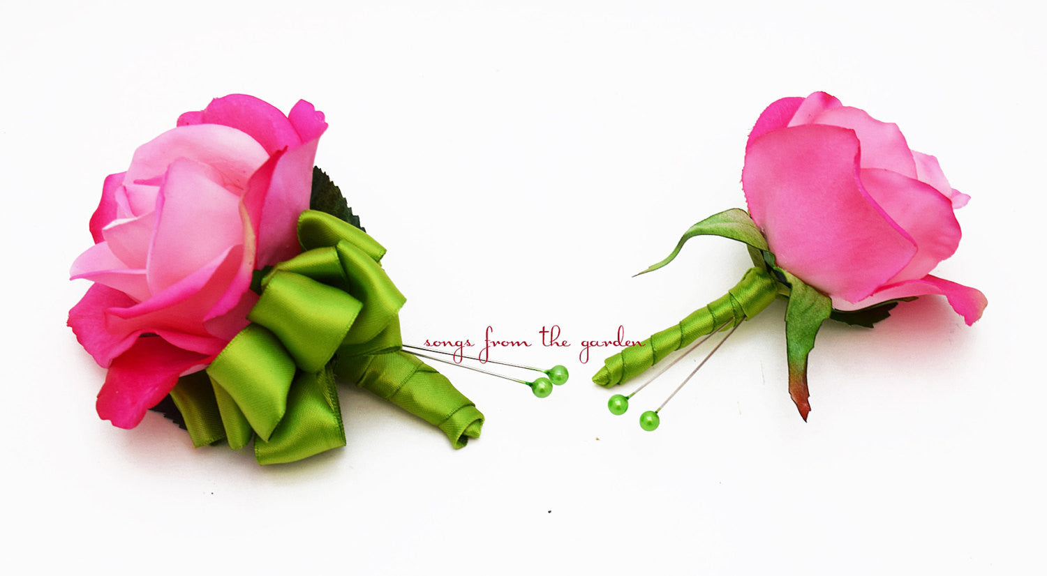 Real Touch Hot Pink Rose Boutonniere Corsage Wedding Flower Package Lime Green Ribbon - Prom Corsage