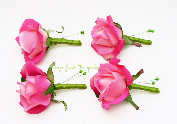 Hot Pink & Lime Green Real Touch Rose Boutonniere Buttonhole Groom Groomsmen