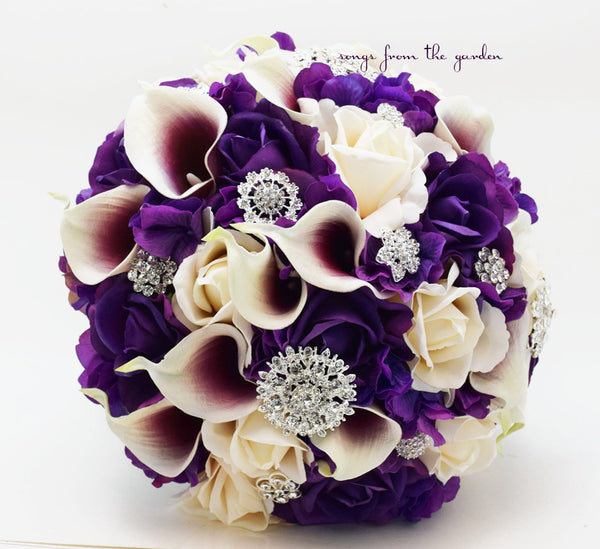 Purple And White Wedding Flower Bouquets: Bridal Bouquet Callas Purple Ivory Roses Rhinestones