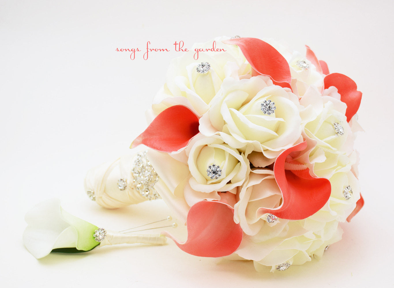 Coral White Real Touch Bridal Bouquet Calla Lilies Roses and Rhinestones With Groom's Boutonniere