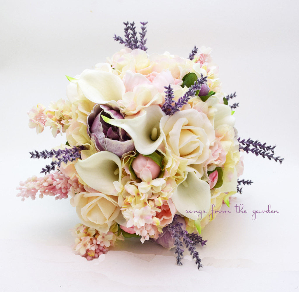 Real Touch Bouquet Lavender Peonies Ivory Roses Pink Lilac White Callas Lavender