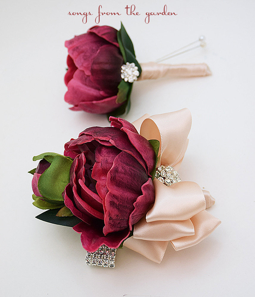 Burgundy Real Touch Peony Wedding Boutonniere & Wedding Corsage with Rhinestone Accent