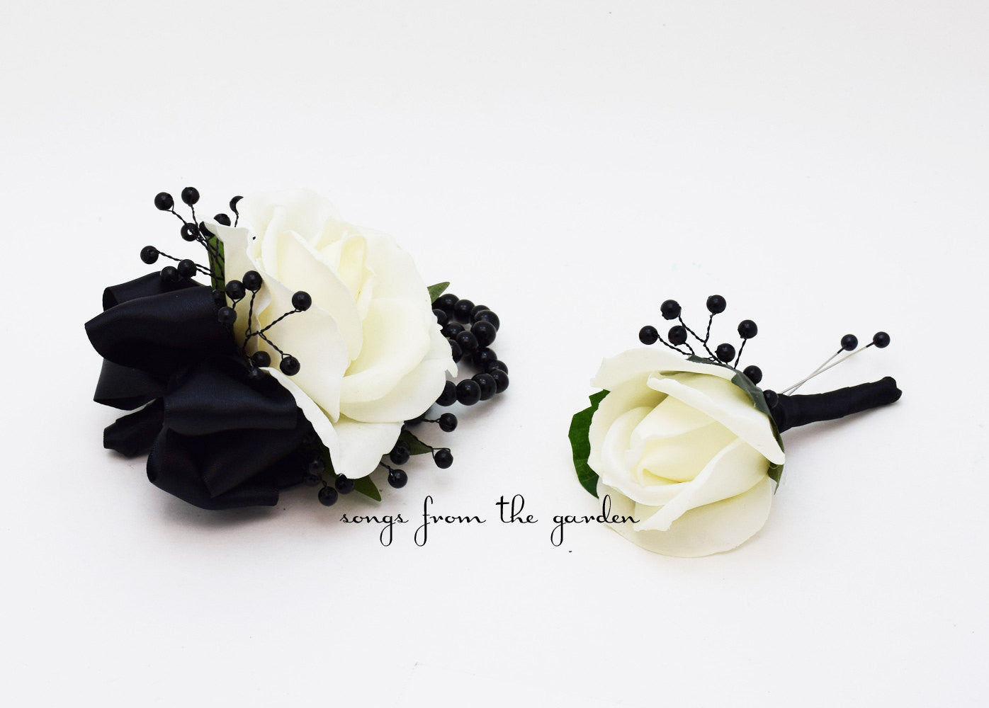 Black And White Real Touch Rose Wedding Boutonniere And Corsage