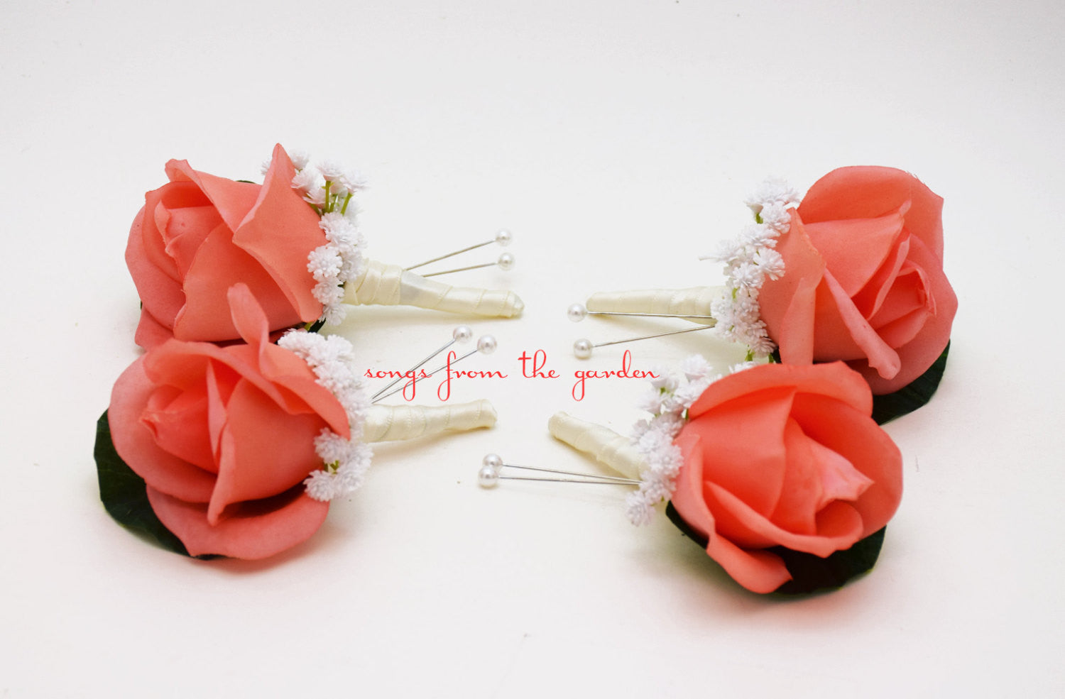 Coral Real Touch Rose Boutonniere with Baby's Breath - Wedding Prom Homecoming