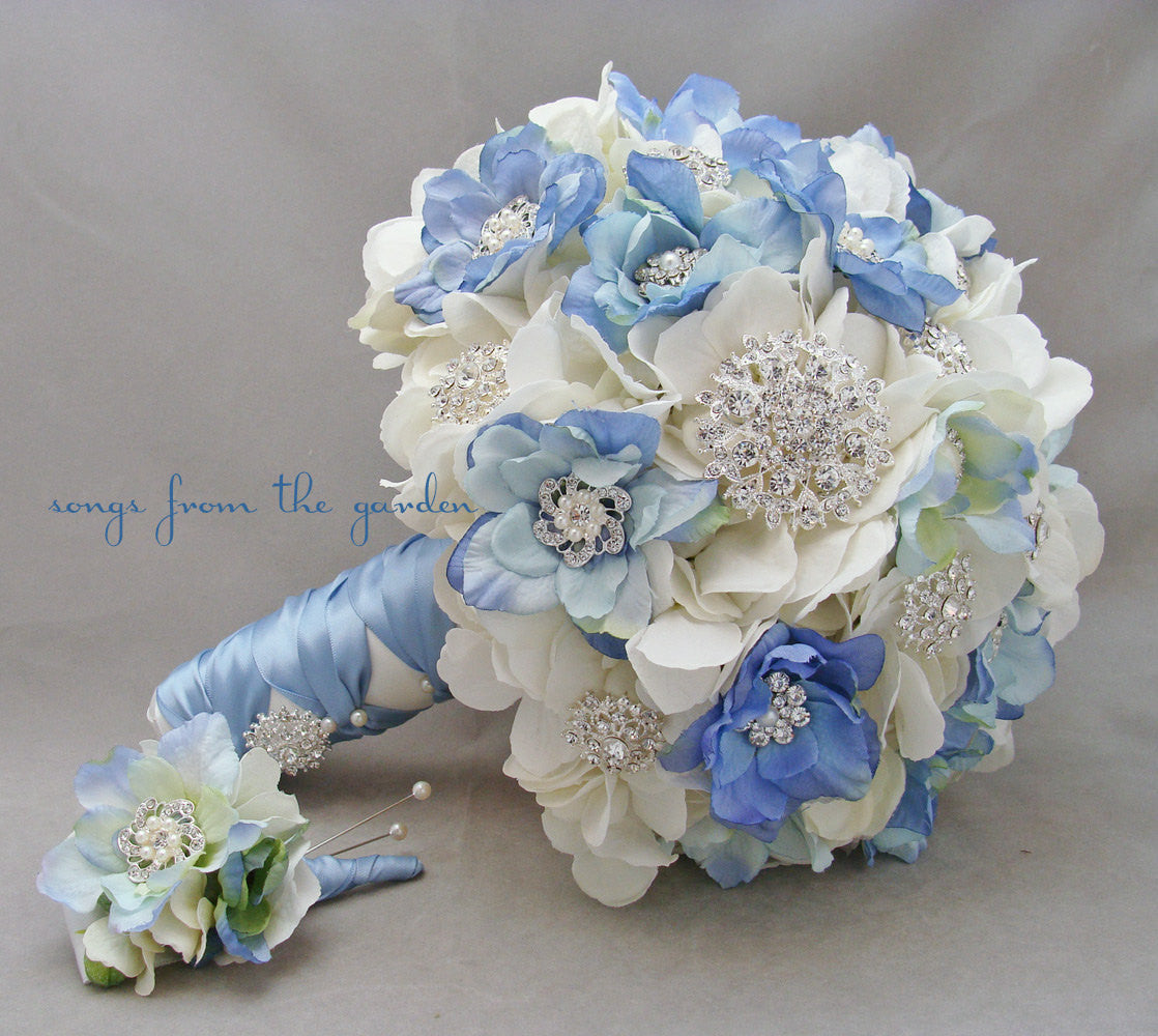 Blue White Brooches & Blooms Bridal Bouquet and Boutonniere with Silver Rhinestones