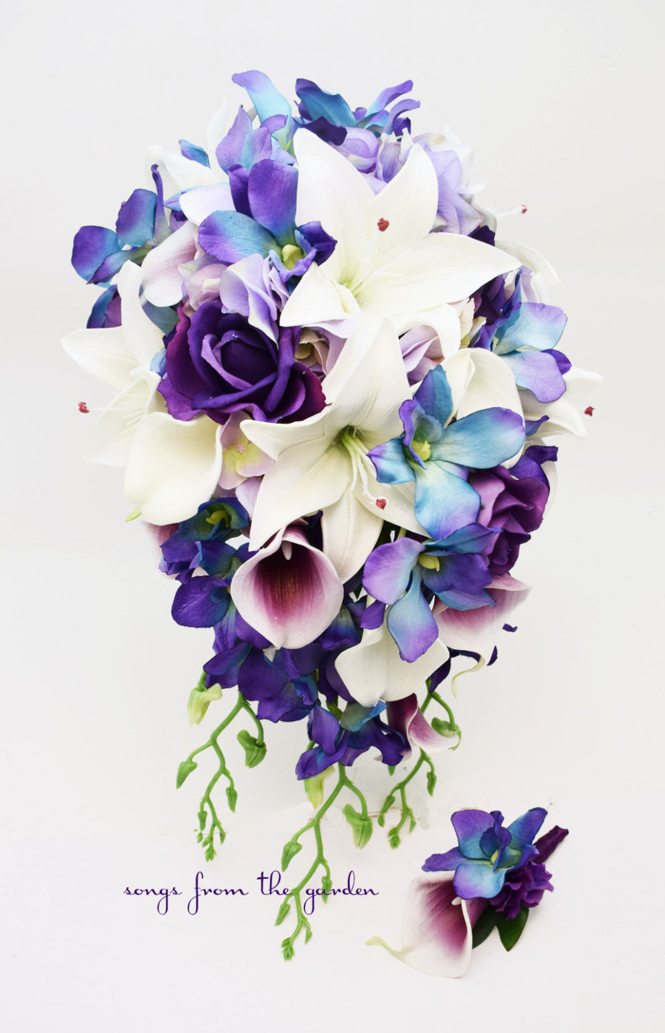 Cascade Bridal Bouquet Blue Orchids Real Touch Purple Roses Lilies