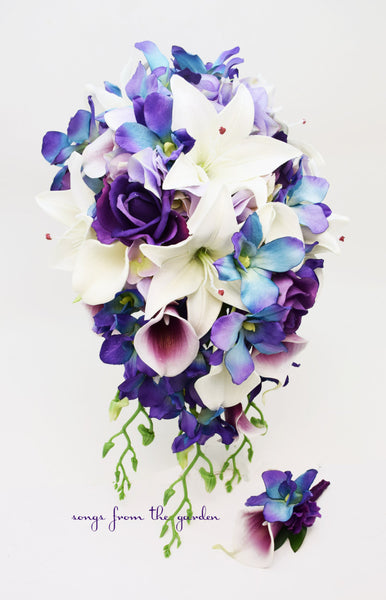 Cascade Bridal Bouquet Blue Orchids Real Touch Purple Roses, Lilies, Lavender Hydrangea
