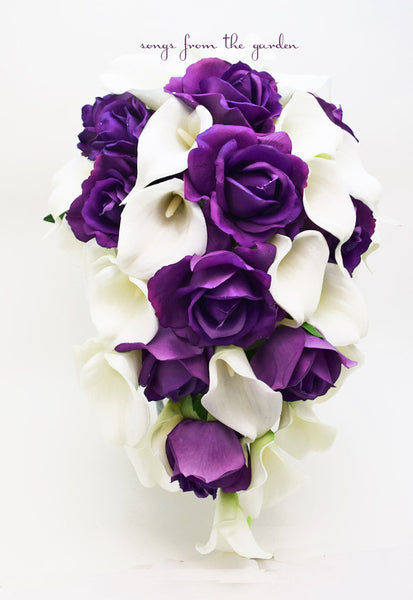 Cascade Bridal Bouquet Purple Real Touch Roses White Real Touch Calla Lilies