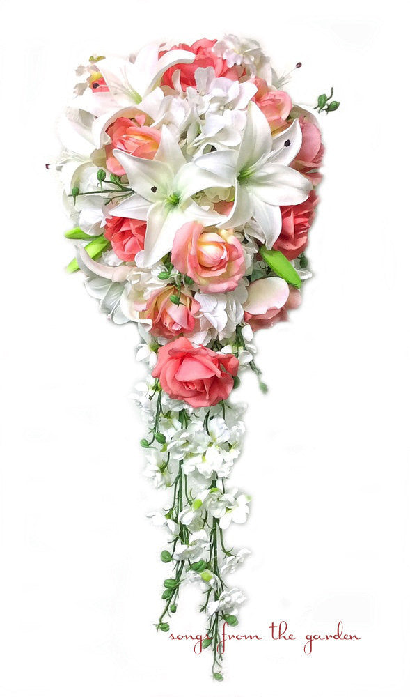 Cascade Bridal Bouquet with Real Touch Coral Roses, Real Touch Lilies, Silk Hydrangea and Larkspur