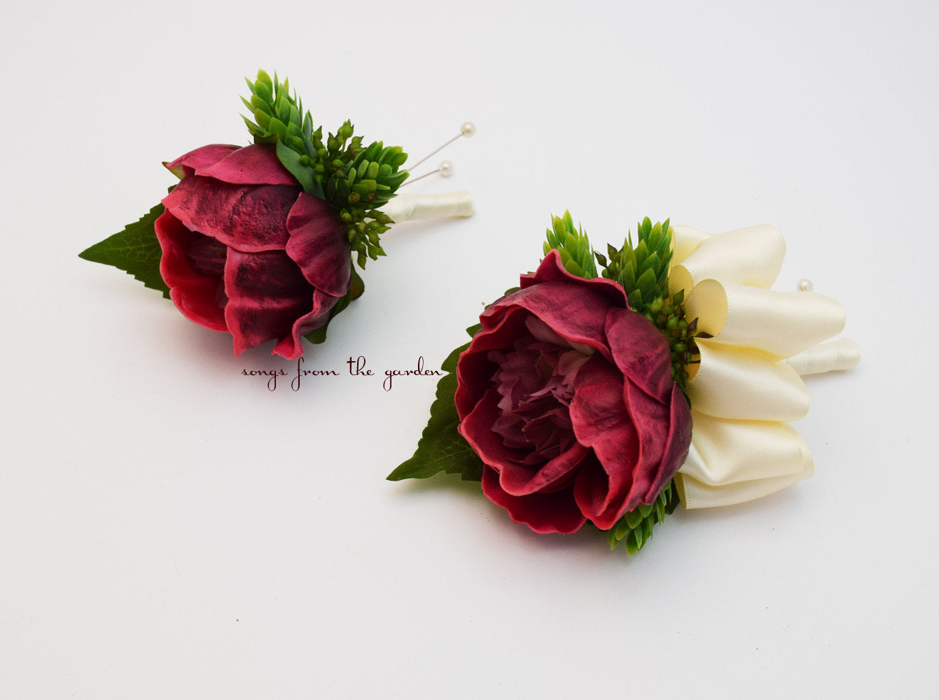Burgundy and Ivory Real Touch Peony Wedding Boutonniere & Corsage - Hops and Eucualyptus Accents