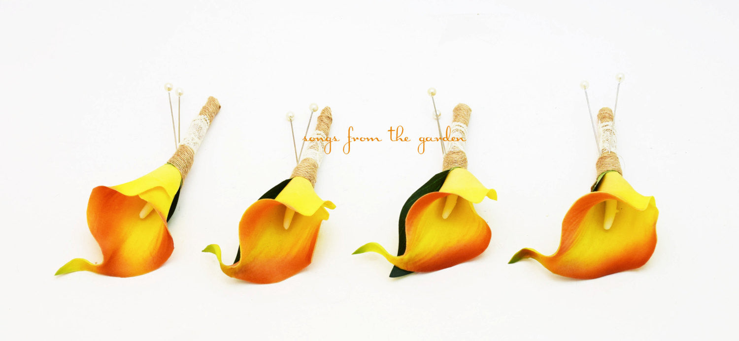 Real Touch Orange Calla Boutonniere Groom Groomsmen Burlap Lace Homecoming Wedding Prom Boutonniere