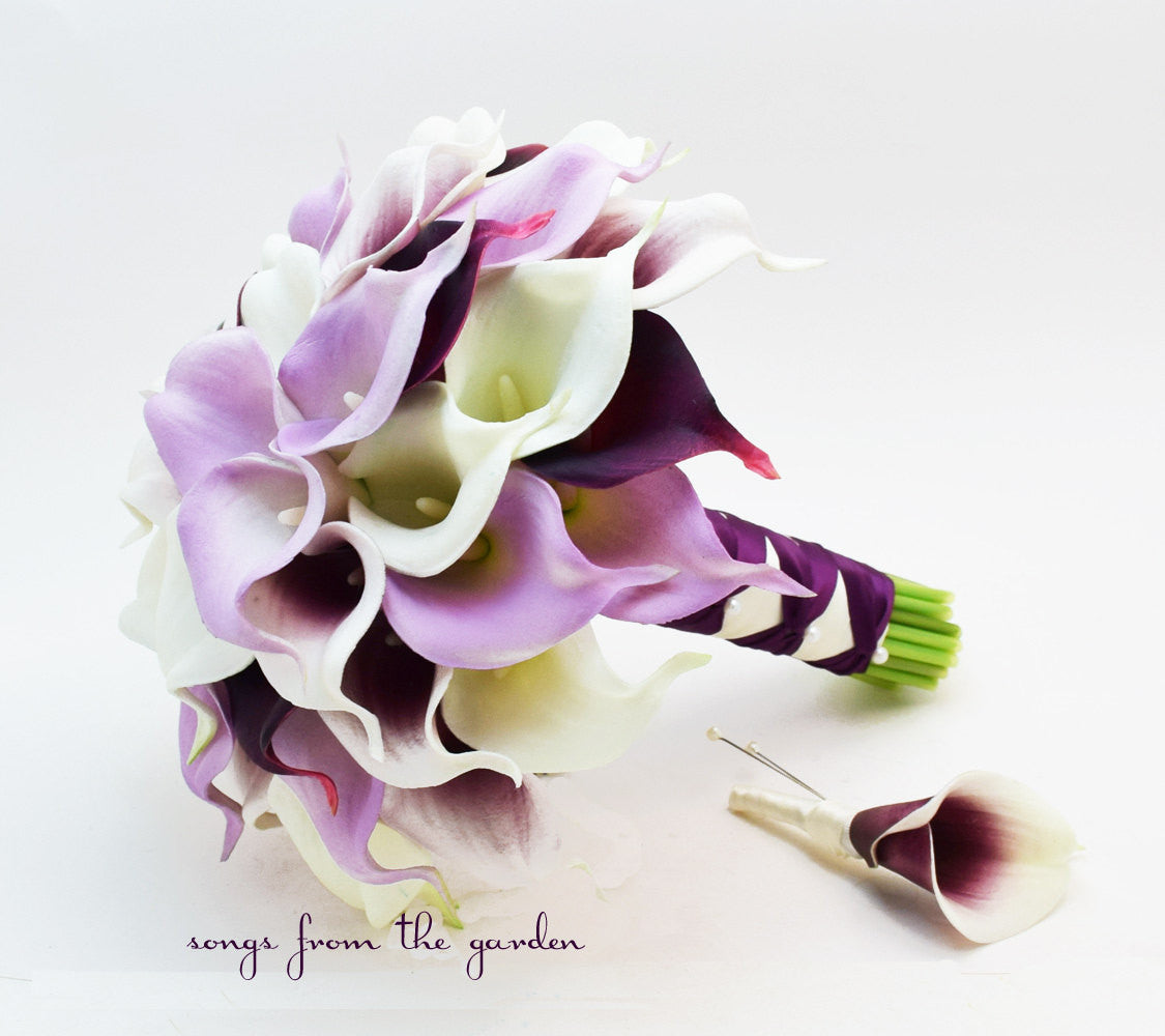 Picasso Lavender Plum White Real Touch Calla Lily Bridal Bouquet Groom's Boutonniere