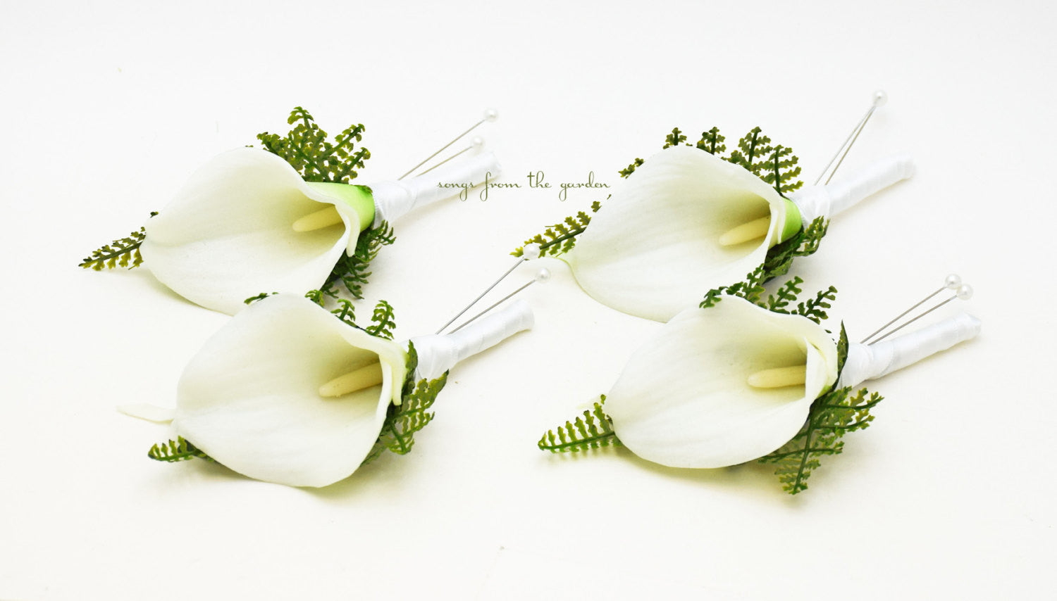 White Real Touch Calla Lily Boutonniere Fern Accents  Groom Groomsmen Wedding Prom Homecoming