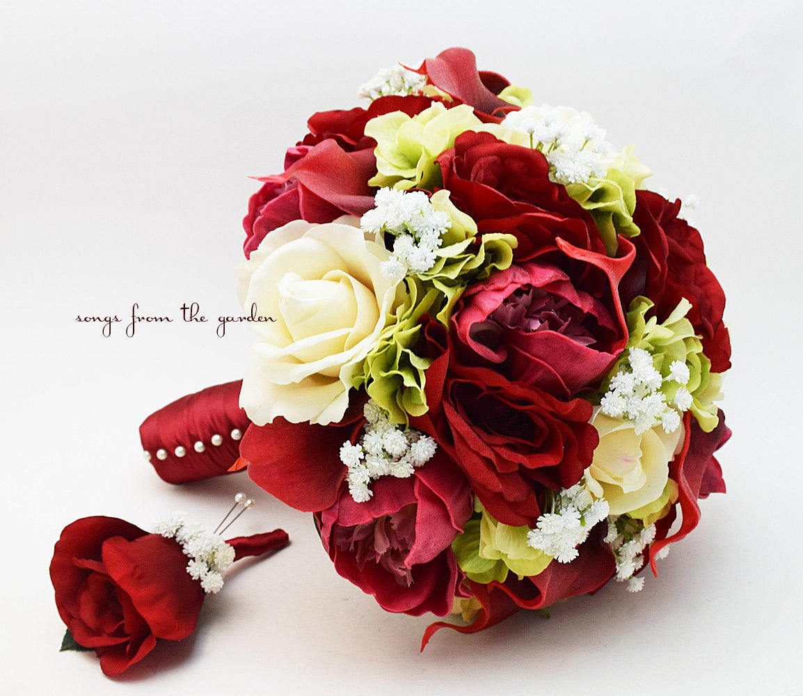 Winter Bridal Bouquet Peonies Roses Baby's Breath Calla Lily Burgundy Green Ivory