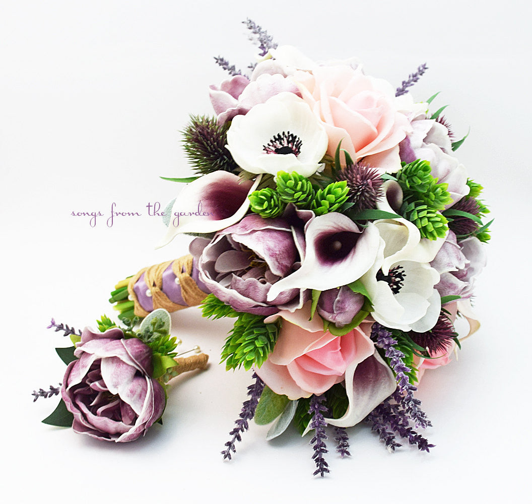 Blush Lavender Bridal Bouquet Anemones Peonies Callas Roses Thistle Groom's Boutonniere