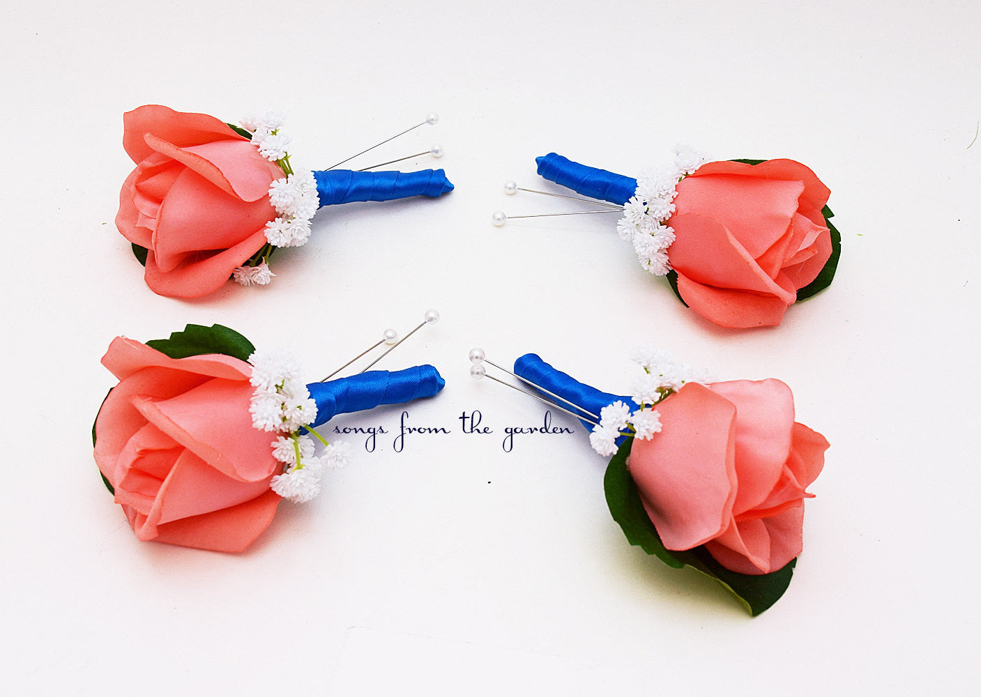 Coral Real Touch Rose Boutonniere - Baby's Breath Royal Blue Ribbon - Prom Wedding