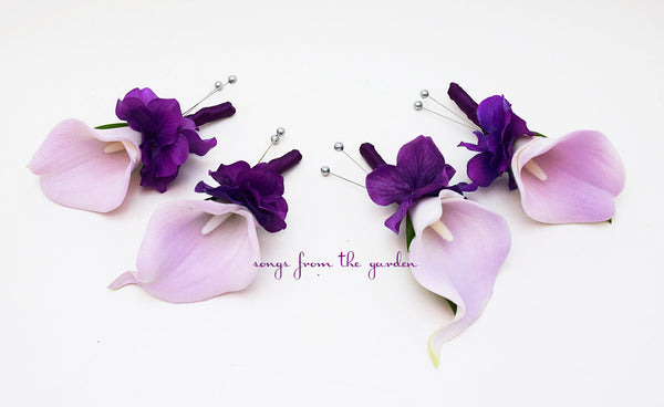 Lavender and Plum Purple Real Touch Calla Lily and Hydrangea Boutonniere