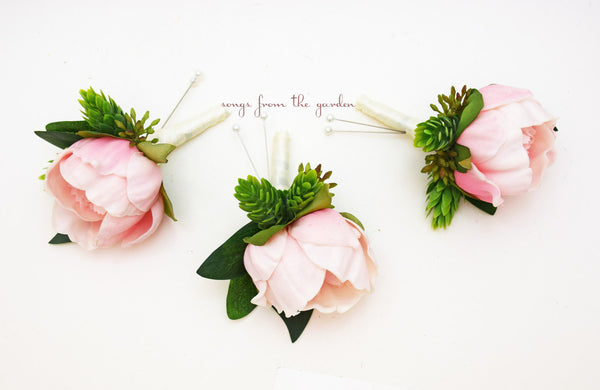 Pink Peony Boutonnieres - Eucalyptus Accents -  Groom Groomsmen Boutonnieres Prom Homecoming