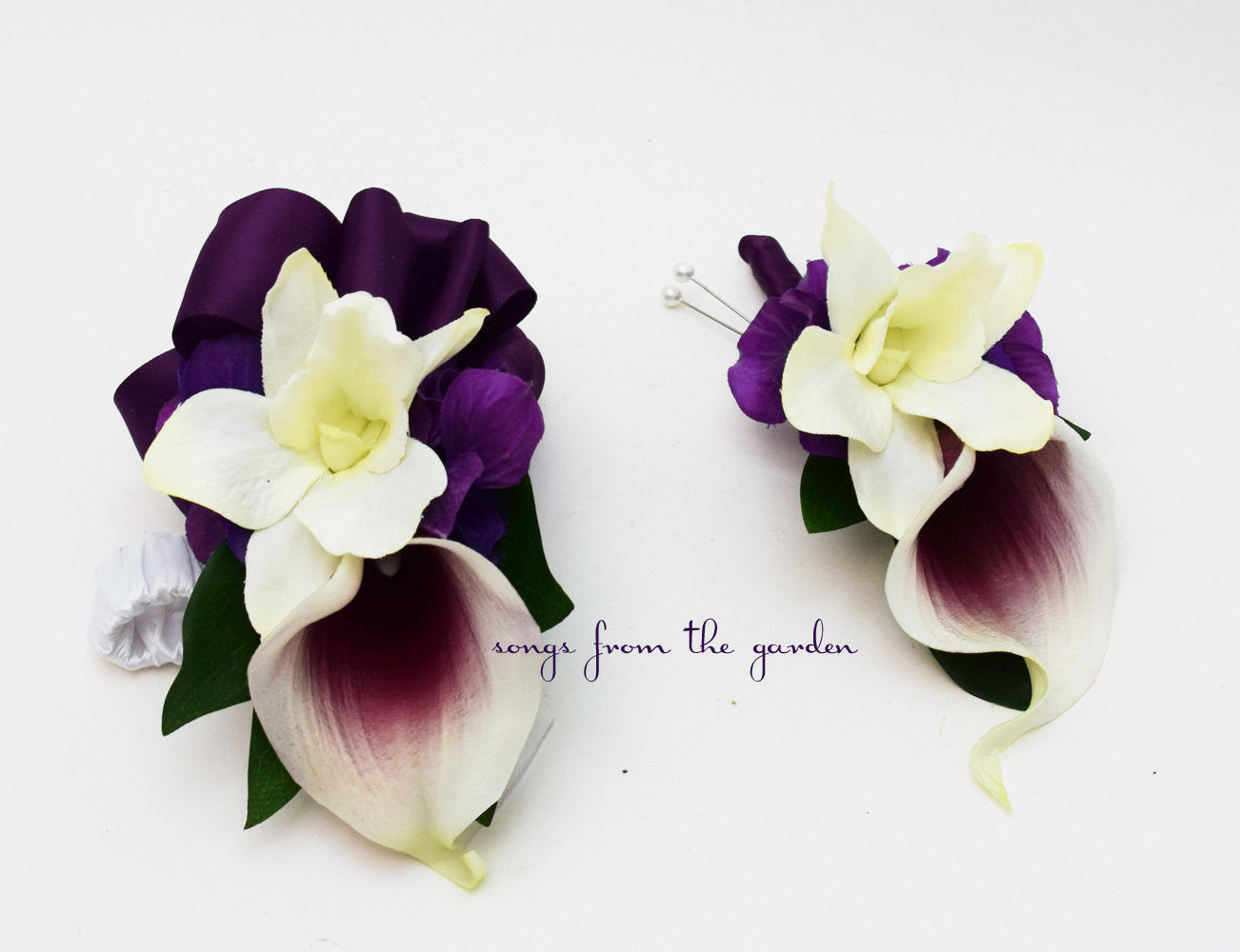 Real Touch Picasso Calla Lily White Orchid Boutonniere Corsage Wedding Flowers Plum Ribbon