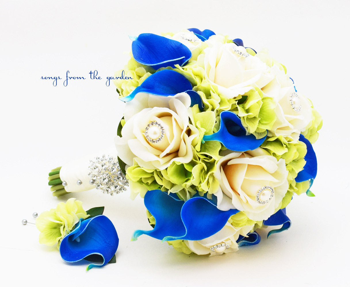 Royal Blue and Green Wedding Bridal Bouquet Groom\'s Boutonniere ...