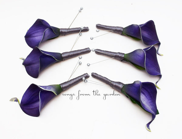 Real Touch Royal Purple Calla Boutonnieres Groom Groomsmen Wedding Prom Boutonniere