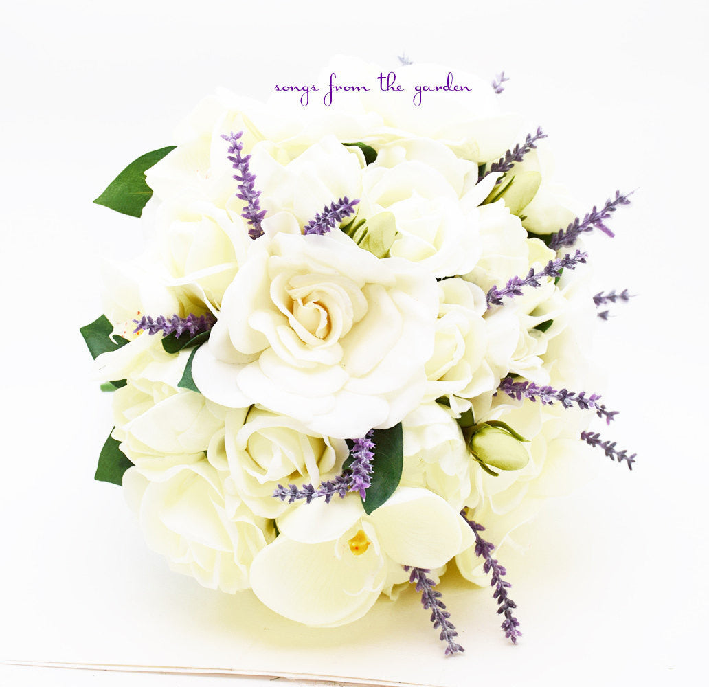 Real Touch Bouquet Gardenias Peonies Orchid Roses Orchid Lavender Accents & Groom's Boutonniere