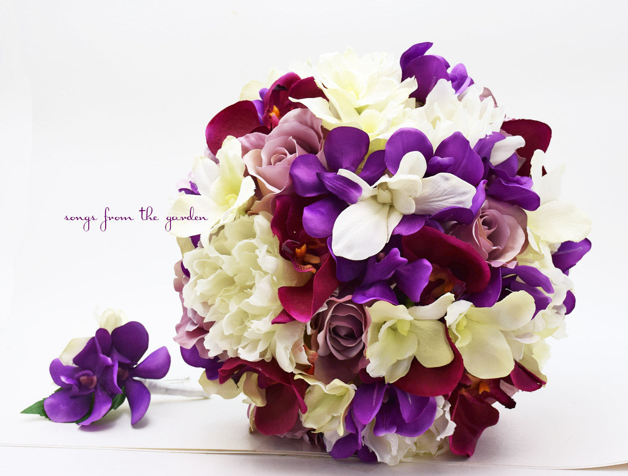 Purple Lavender White - Orchid Rose Peony Bridal Bouquet - Silk Flower Bridal Bouquet