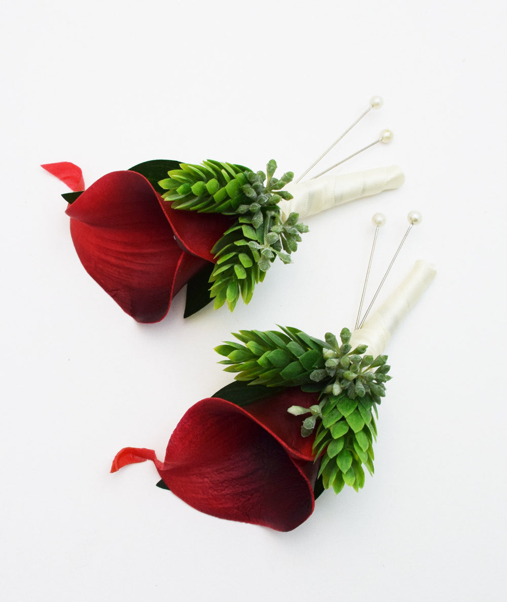 Dark Red Calla Lily Boutonniere - Eucalyptus Accents -  Groom Groomsmen Wedding Prom Homecoming