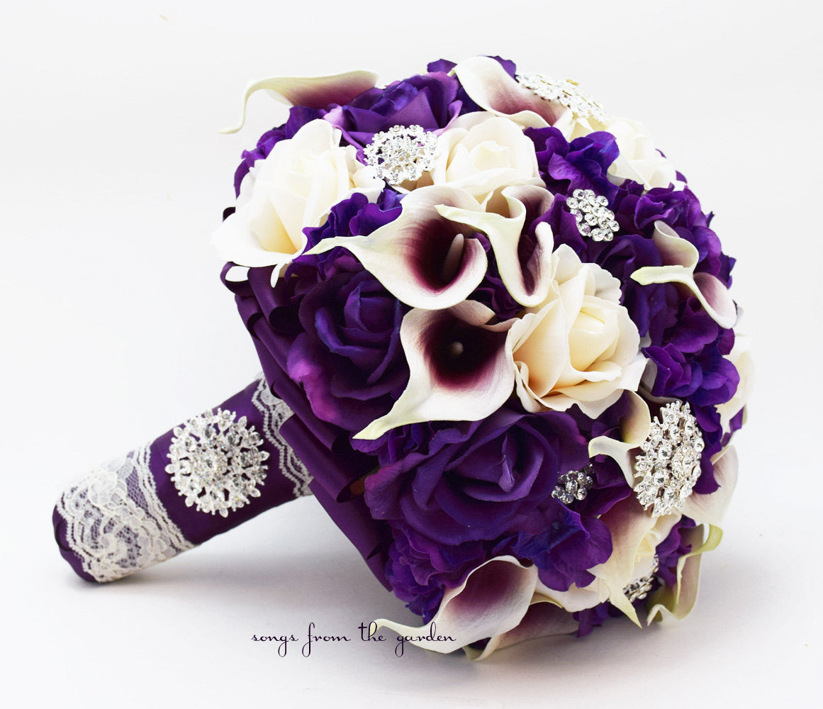 Bridal Bouquet Callas Purple Ivory Roses Rhinestones Hydrangea & Groom's Boutonniere