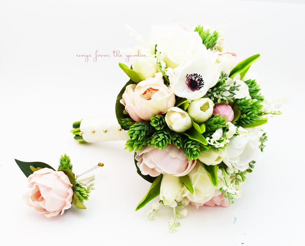 Bridal Bouquet Anemones Lily of the Valley Peonies Tulips Roses Eucalyptus - Pink Black White Gold
