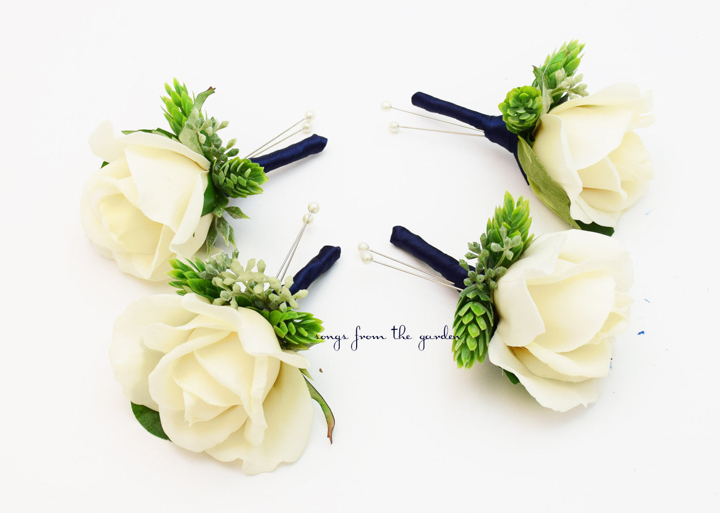 Ivory Rose Boutonnieres Eucalyptus Accents Navy Ribbon Wedding Prom Homecoming Boutonniere