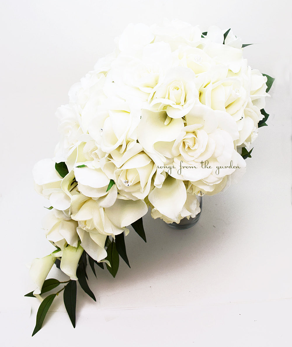 Cascade Bridal Bouquet Featuring Real Touch Gardenia White Roses Calla Lilies - Tear Drop Bouquet