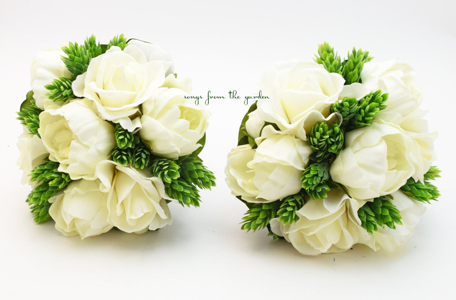 Wedding Party Bouquets Real Touch White Peonies and Roses Bridesmaids Bouquets - Rustic Wedding