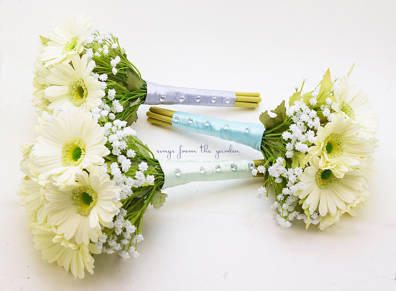 Wedding Party Bouquets Real Touch White Gerbera Daisies and Baby's Breath - Bridesmaids Bouquets