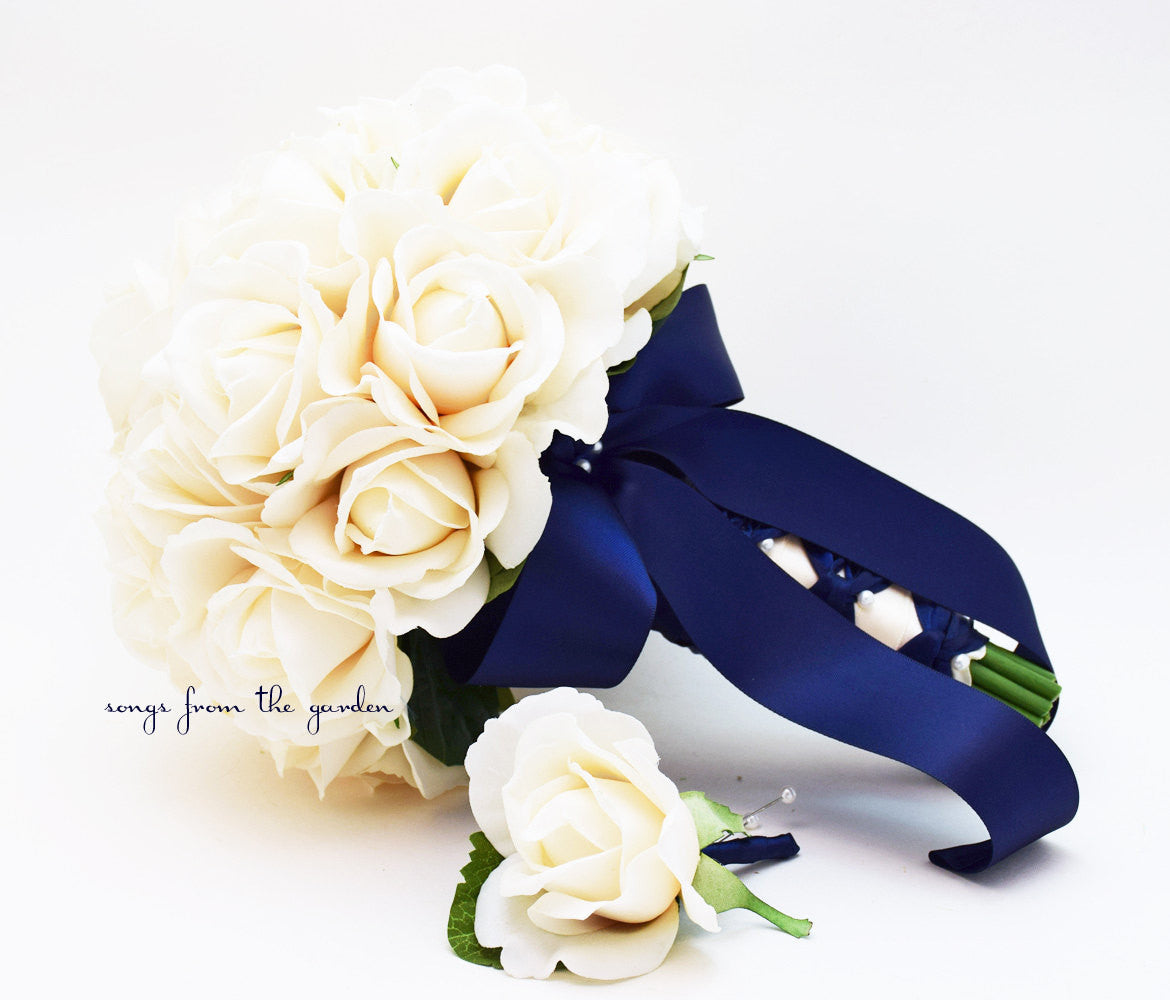 Ivory Real Touch Roses Navy Ribbon Bridal Bouquet Groom's Boutonniere