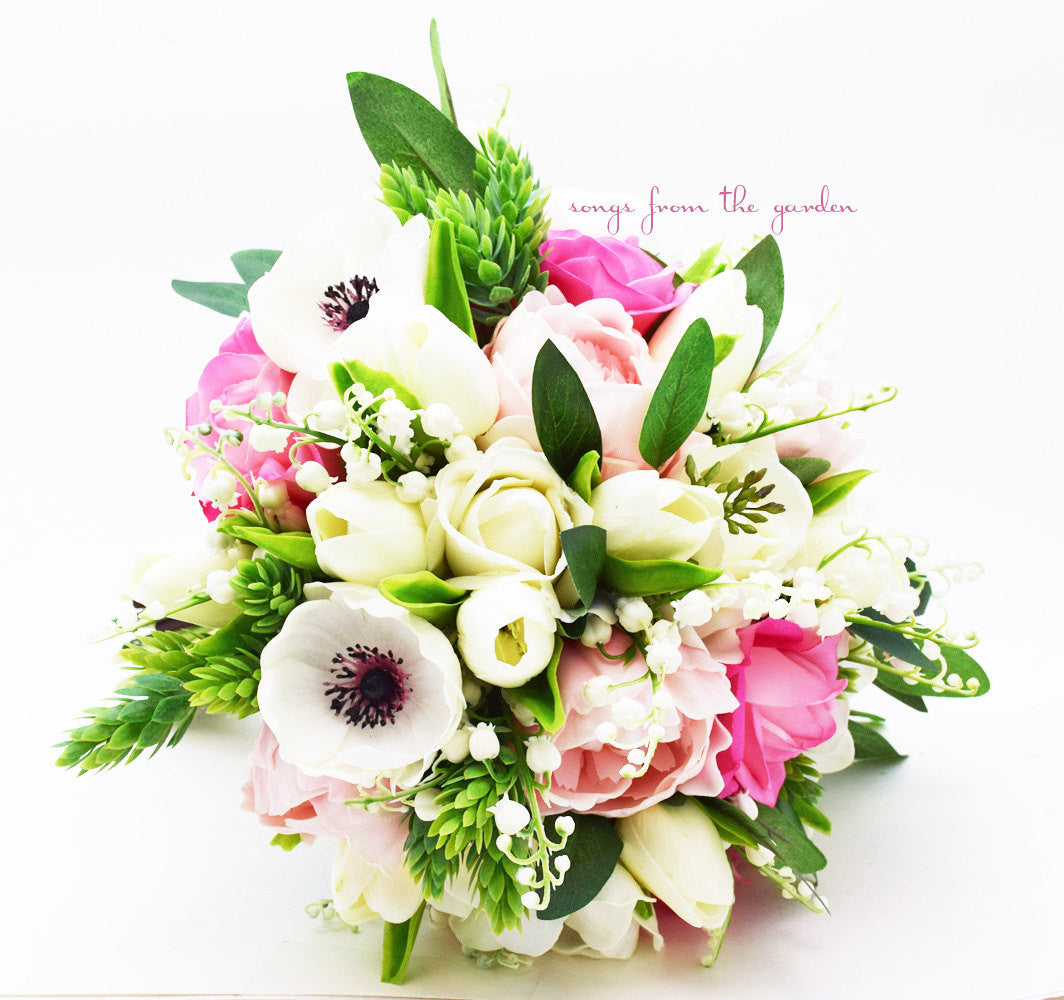 Bouquet Anemones Lily of the Valley Peonies Tulips Roses Eucalyptus & Groom's Boutonniere