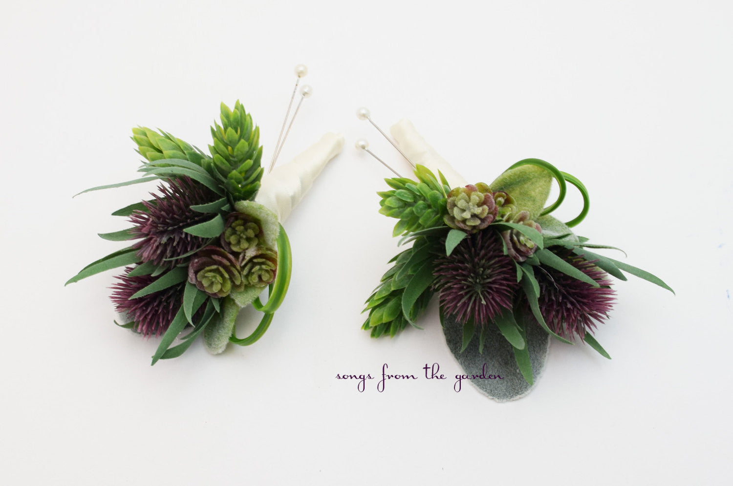 Thistle and Succulent Boutonnieres Wedding Groom Groomsmen Boutonnieres Prom Homecoming Boutonniere Hops and Grass Accents