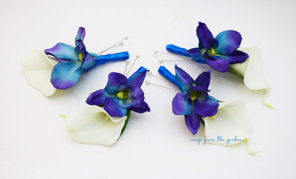 Blue Orchid White Calla Lily Boutonniere Groom Groomsmen with Royal Blue Ribbon