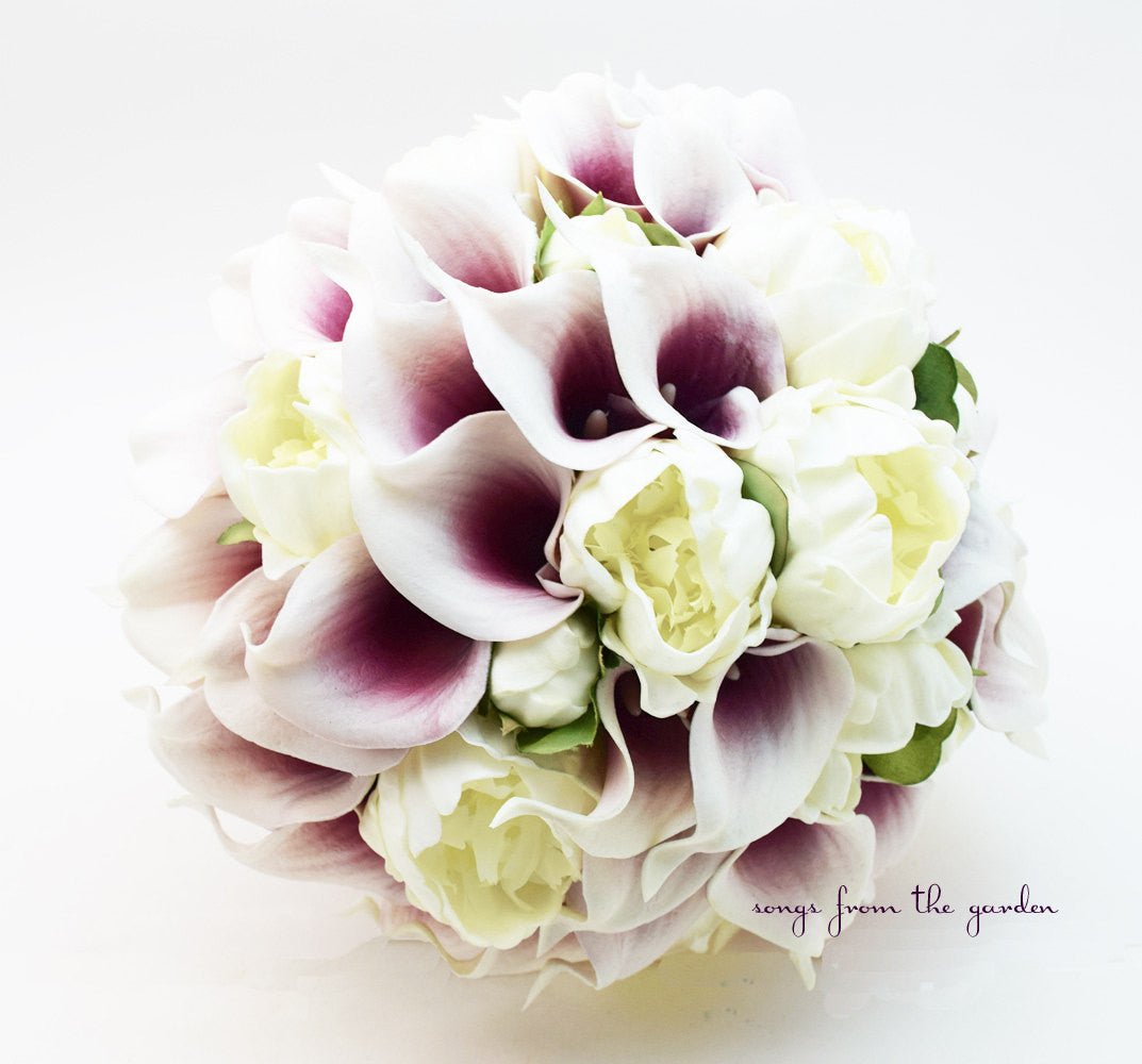 Peonies & Picasso Calla Lily Bridal Bouquet - White Peonies Calla Lilies with Groom's Boutonniere