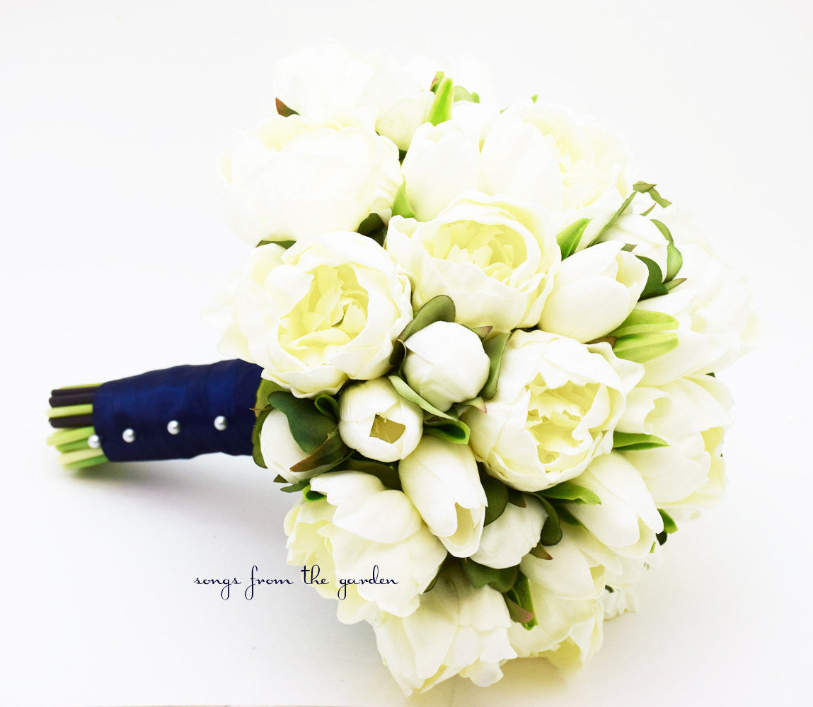 Peonies & Tulips Bridal Bouquet - Real Touch White Peonies White Tulips - White Navy Bridal Bouquet