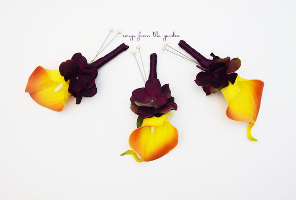 Orange Plum Purple Real Touch Calla Lily Boutonniere Groom Groomsmen Wedding Prom Homecoming