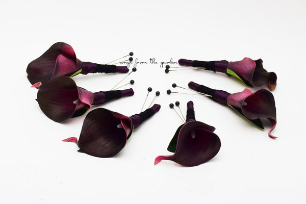 Plum & Black Real Touch Calla Lily Boutonniere Groom Groomsmen Wedding Homecoming Prom Boutonniere