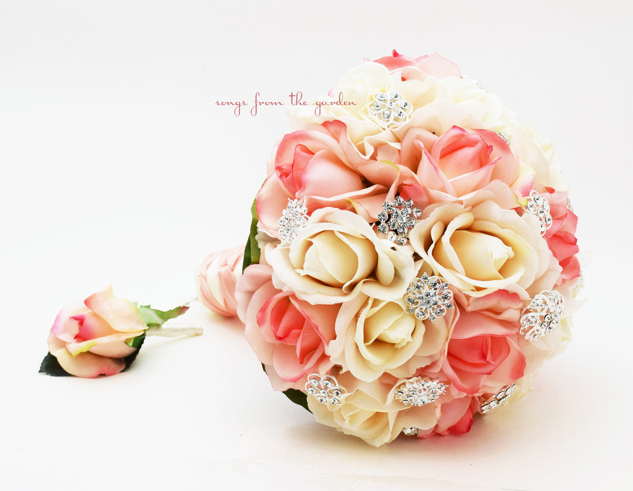 Peach Ivory Bridal Bouquet Real Touch Roses & Rhinestones - Real Touch Rose Groom's Boutonniere