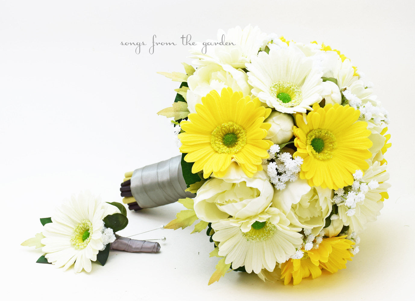 Yellow White Gray Bridal Bouquet Groom's Boutonniere Real Touch Gerber Daisies Peonies Baby's Breath
