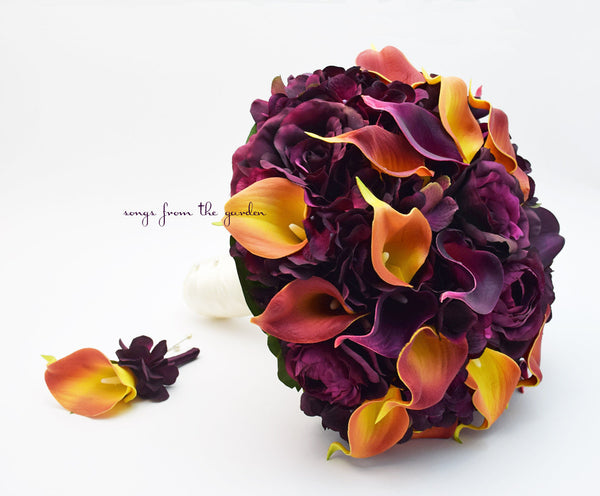 Fall Wedding Plum Roses Plum Burnt Orange Calla Lilies Bridal Bouquet Groom's Boutonniere