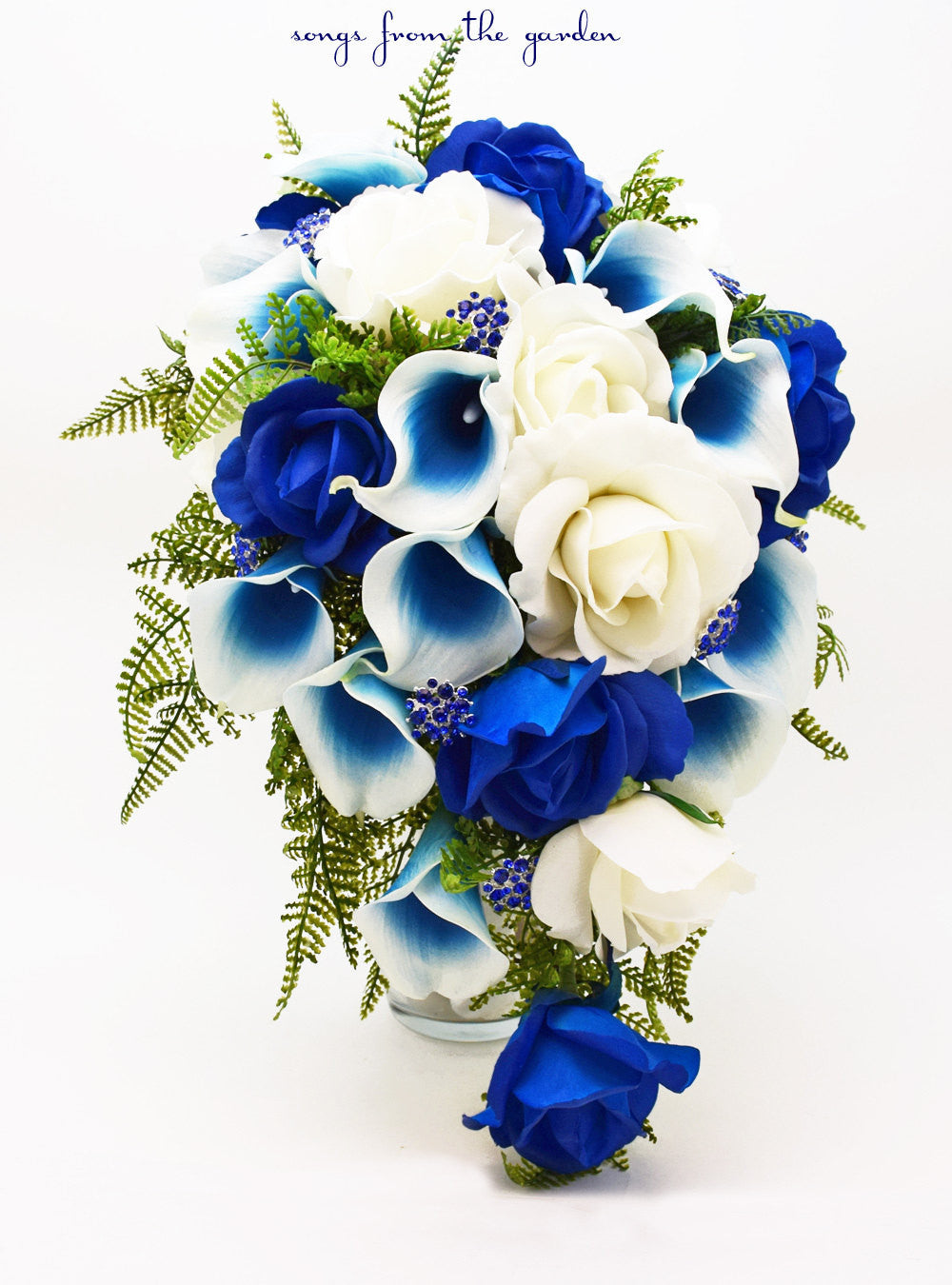 Cascade Bridal Bouquet Blue Picasso Callas White & Royal Blue Roses, Blue Rhinestones Accents