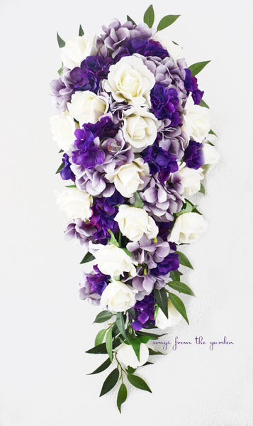 Cascade Bridal Bouquet Real Touch White Roses Lavender Purple Hydrangea - Tear Drop Bouquet