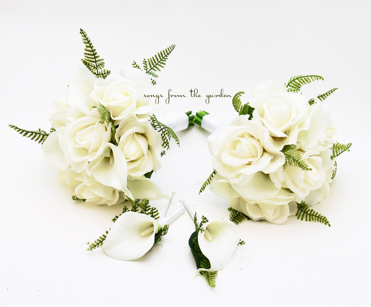 Wedding Party Bouquets Real Touch White Calla Lily Bridesmaids Bouquets Groomsmen Boutonnieres