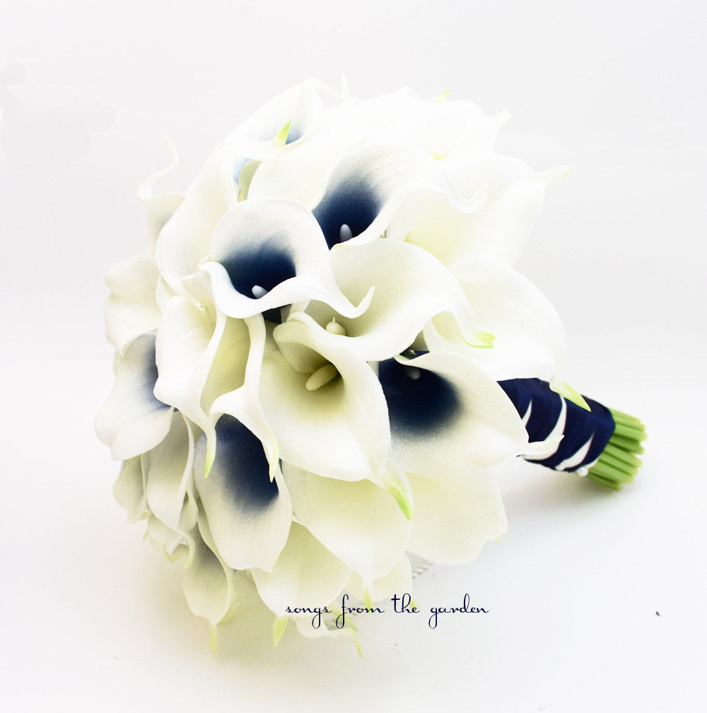 Navy Picasso Real Touch Calla Lily Bridal Bouquet - with Groom's Boutonniere